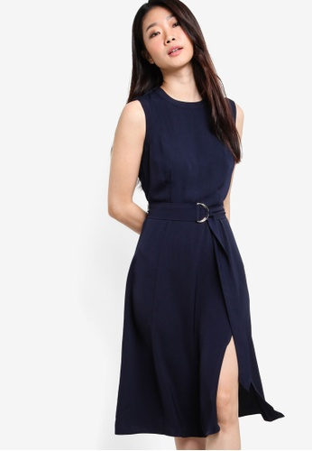 ZALORA navy Collection Belted Midi Dress A5D9AAABD15796GS_1