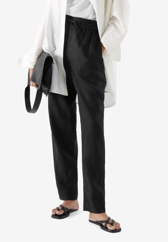 Cos black Linen Drawstring Trousers 51495AA371A5FAGS_1