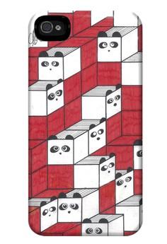 Panda Blocks Matte Hard Case for iPhone 4, 4s