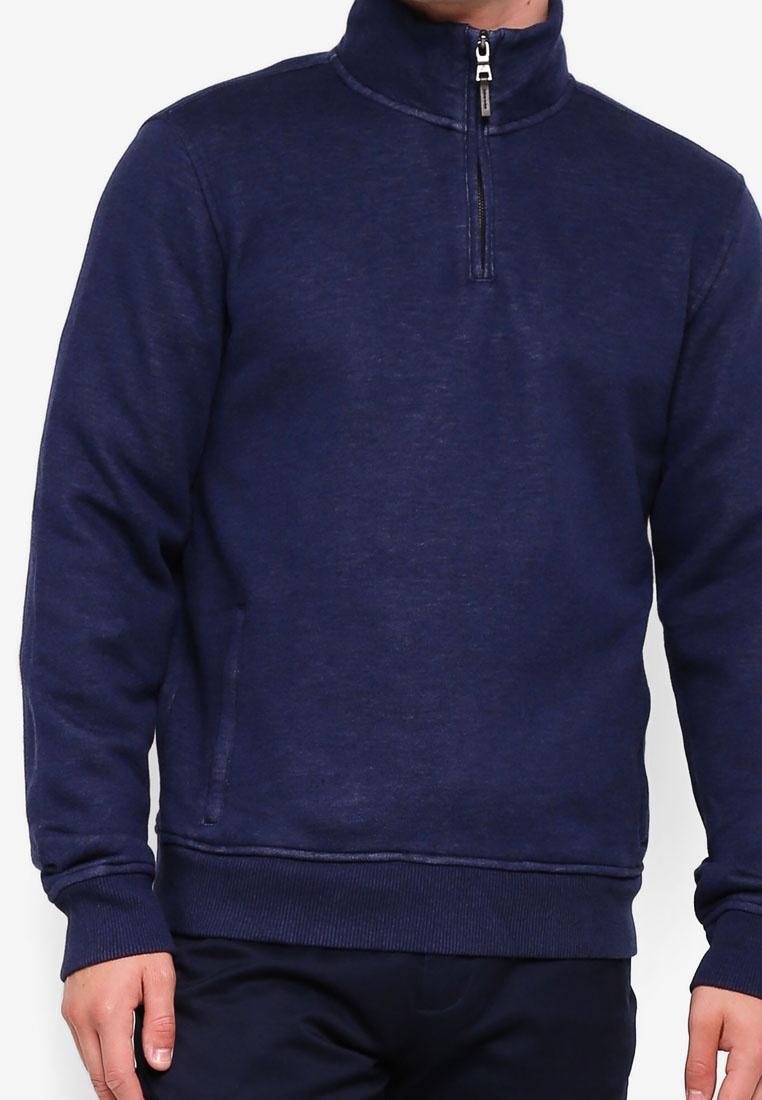 Fleece Navy Zip Half Brothers Brooks Pique Sweatshirt ZqwZCY