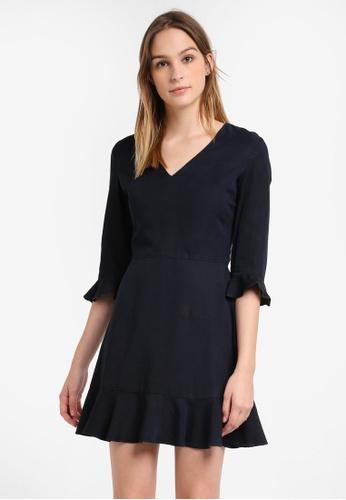 Dorothy Perkins blue and navy Indigo Ruffle Fit & Flare Dress DO816AA0S09NMY_1