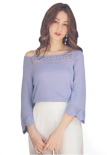 Yoco blue Cutout Knit Top 2052BAAD10723FGS_1