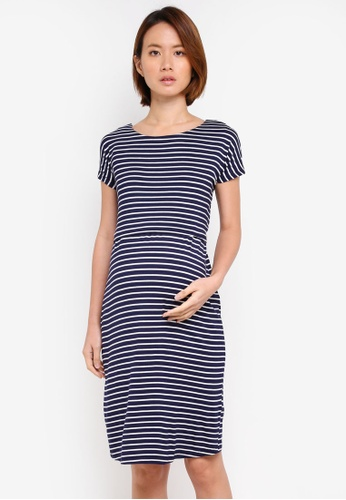 JoJo Maman Bébé navy Maternity Tie Back Stripe Shift Dress EA1F7AA54BF756GS_1