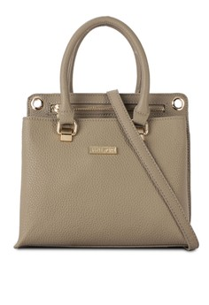 UNISA Pebbled Texture Convertible Satchel With Top Handle