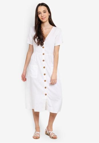 Cotton On white Woven Camila Button Through Midi Dress 3CA54AA29DF198GS_1