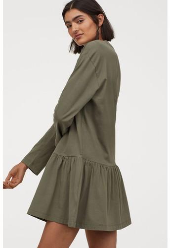 H&M green Cotton jersey dress 279DBAA5EB6299GS_1