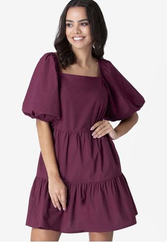 FabAlley red Blouson Sleeves Tiered Dress 97352AAA26B45CGS_1