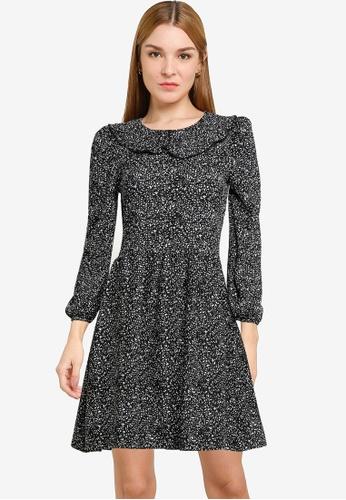 Dorothy Perkins black Monochrome Print Collar Fit & Flare Dress 24E84AAC953EE0GS_1
