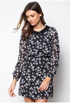 Collar Daisy Print Chffon Tunic Dress