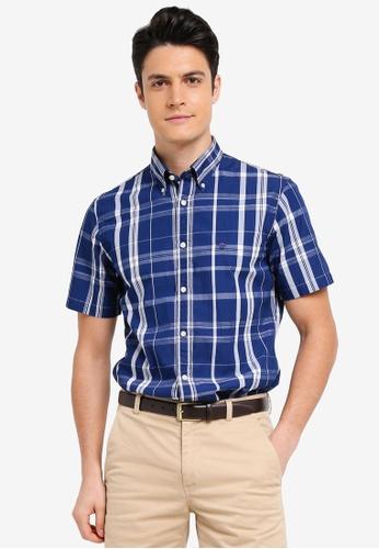 Brooks Brothers 藍色 短袖格紋襯衫 C1582AA4DE2B25GS_1