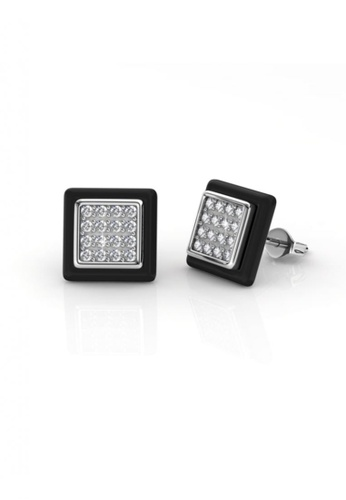 dca9d95a441 Her Jewellery black Square Ceramic Earrings (Black) - Embellished with  Crystals from Swarovski®