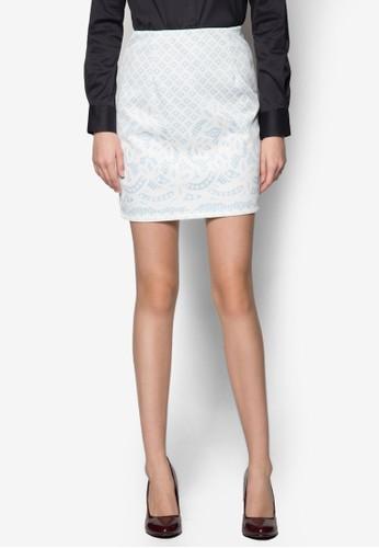 Taesprit outlet 桃園ra 蕾絲印花窄管短裙, 服飾, 洋裝
