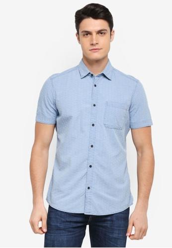 ESPRIT blue Woven Short Sleeve Shirt 01D86AA7008A5BGS_1