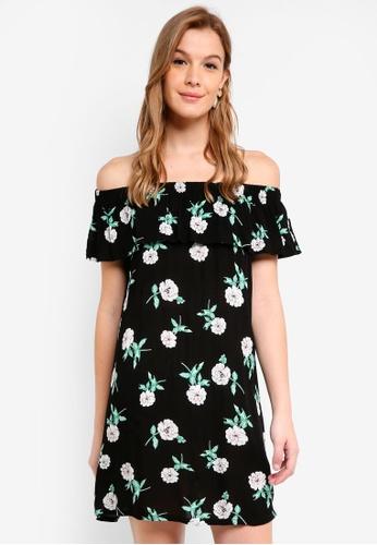 Dorothy Perkins black Petite Black Floral Bardot Dress 9F399AAB68F7C4GS_1