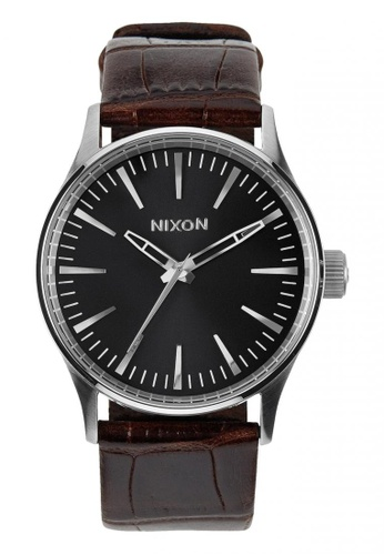 Nixon black and brown and silver Nixon - Sentry 38 Leather - Brown/Silver NI855AC55OHSSG_1