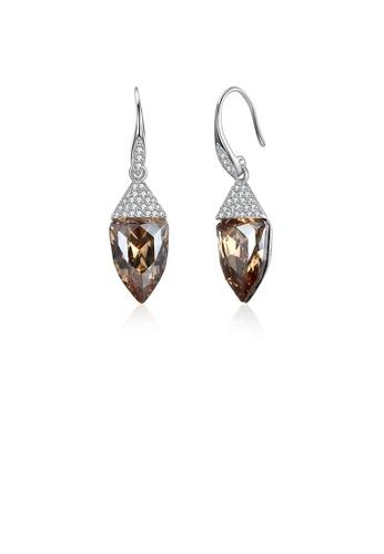 Glamorousky white 925 Sterling Silver Fashion Geometric Water Drop Shaped Golden Austrian Element Crystal Earrings EEDA7ACFAD1449GS_1