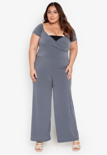 78a35342e8b Ashley Collection Plus grey Plus Size Overlap Jumpsuit F2E91AAE518954GS 1