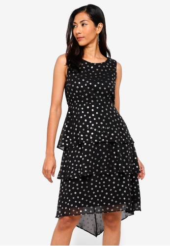 Petite Black Floral Tiered Skater Dress