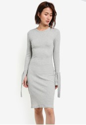 ZALORA grey Bodycon Rib Dress With Tie Sleeves AF1E4AA78AD6CAGS_1