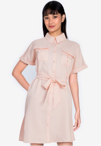 ZALORA BASICS beige Shirt Dress with Tie 2A316AA5178C9BGS_1