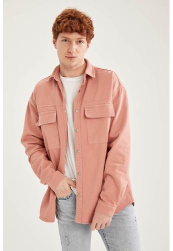 DeFacto pink Long Sleeve Denim Shirt 200D7AA2855A70GS_1