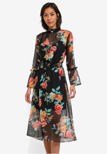 Miss Selfridge black Rose Print Midi Skater Dress MI665AA0SABVMY_1