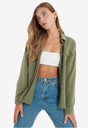 Trendyol green Relaxed Lyocell Shirt 6F44BAAC025A9EGS_1