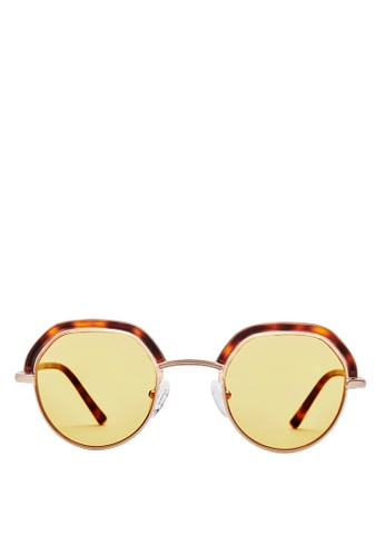Carin orange and yellow and gold and brown Denci C2 Round Sunglasses EB185GL5B85A11GS_1