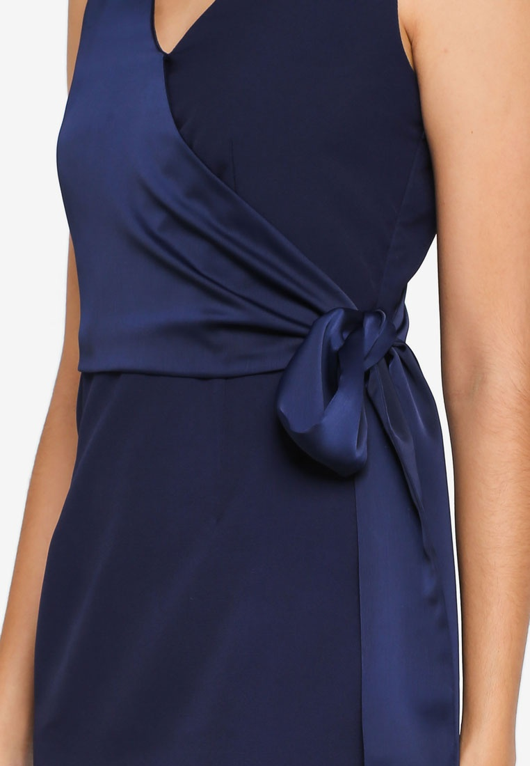 Self Navy Tie Satin ZALORA Dress PnUwW4wx1