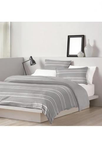 Dkny grey DKNY Chambray Stripe Grey Quilt Cover & Pillow Sham Set. 79E4CHL729A034GS_1
