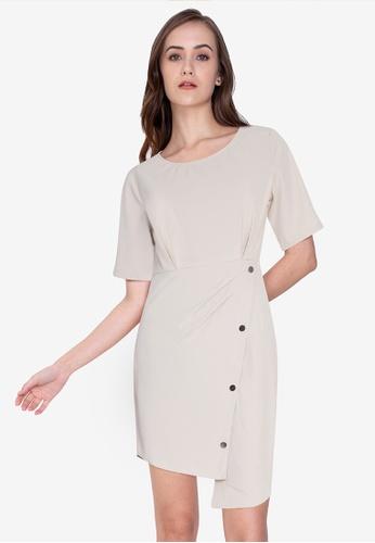 ZALORA WORK beige Round Neck Wrap Dress C8639AA1C1787DGS_1