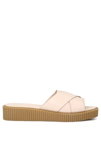 London Rag beige Nude Cross Strap Flatfom Sandals 948AASH11F64E4GS_1
