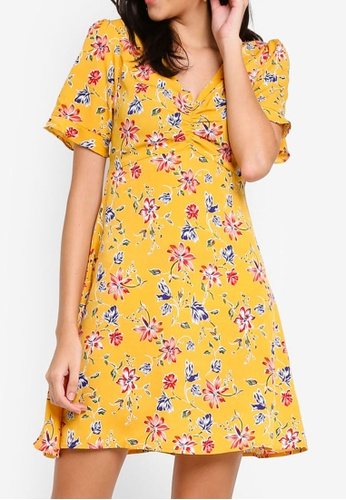 ZALORA yellow and multi Ruched Front Fit And Flare Dress 2425FAABB4F7FBGS_1