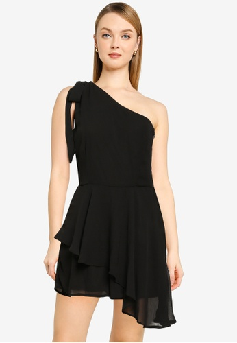 MISSGUIDED black One Shoulder Floaty Playsuit 4FB07AA0E02921GS_1