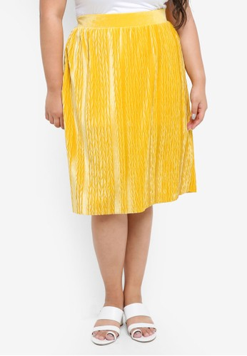 Junarose yellow Plus Size Jesca Below Knee Skirt 67442AA382C300GS_1