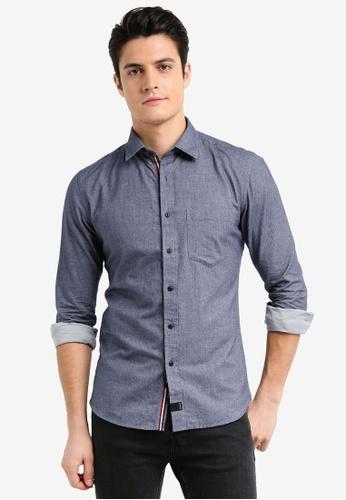 UniqTee 藍色 法蘭絨休閒長袖襯衫 5C2A3AAA27FCB4GS_1