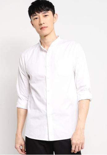ZALORA BASICS white Stand Collar Shirt 9AB63AADF3B1B5GS_1