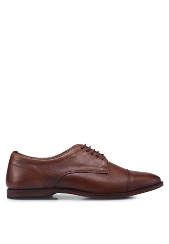 Topman brown Tan Leather Blinder Toecap Shoes 0FA37SH87E6B69GS_1