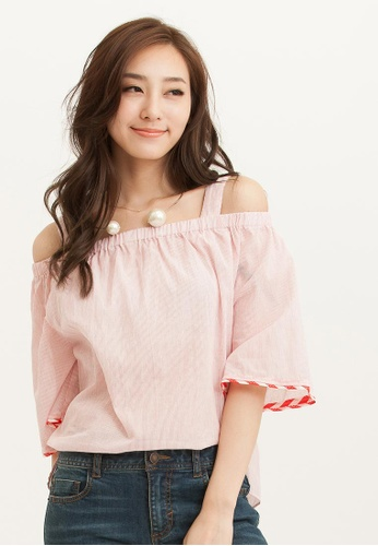 H:CONNECT pink SHARKEE Stripe Off-Shoulder Top 12AA0AACE32273GS_1