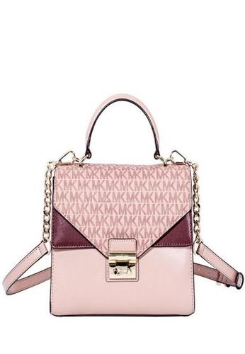 Michael Kors pink Michael Kors Sloan Leather Medium Satchel - Pink/Multi 30F8TSLS2V-982 27D9BACB4381A0GS_1