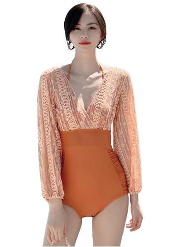 A-IN GIRLS orange Elegant Lace One Piece Bikini Swimsuit 4B540US1DE47C1GS_1