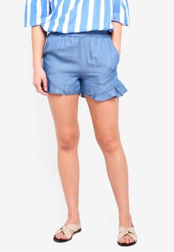 ICHI blue Cebron Short Sleeves Top E62A7AADE58DEFGS_1