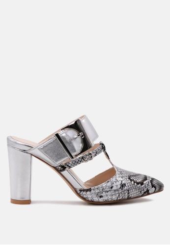 London Rag 銀色 London Rag蛇纹尖头拖鞋 1B282SHC76727EGS_1
