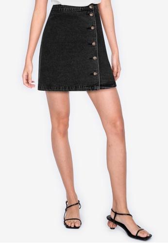 ZALORA BASICS 黑色 丹寧交叉造型裙 A1533AA4B337A8GS_1