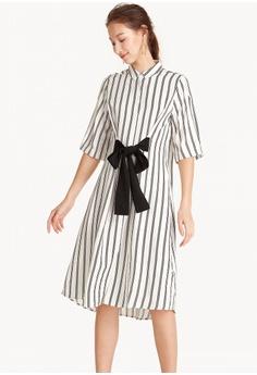 76a5fe9fe7b Pomelo white Midi A-Line Shirt Dress - White 14D0CAAEF87447GS 1