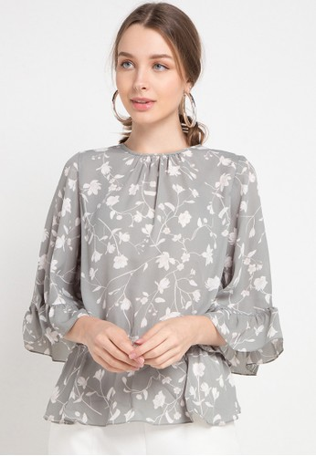 Korz green and multi Floral Blouse With Ruffle Sleeve 1BB6FAA78A9AB5GS_1