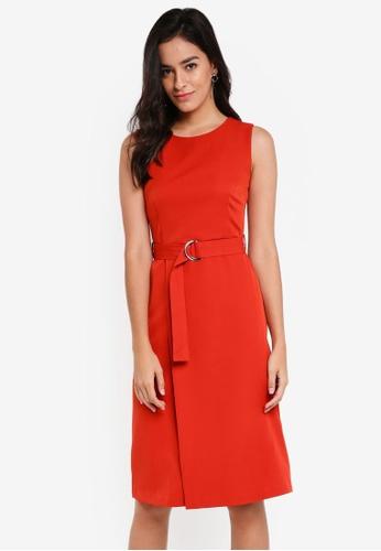 ZALORA orange Belted Midi Dress 3465BAA6A0B55AGS_1