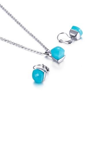 Glamorousky blue Fashion Simple Geometric Square 316L Stainless Steel Necklace and Earring Set with Blue Cubic Zirconia 0EDFDACA5AA85AGS_1