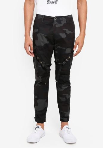 SPARROW GREEN 黑色 迷彩修身長褲 AF996AAA35FEF5GS_1