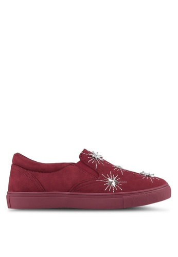 Something Borrowed red Star Studded Embellished Slip-Ons 8046ESH32F6EB0GS_1